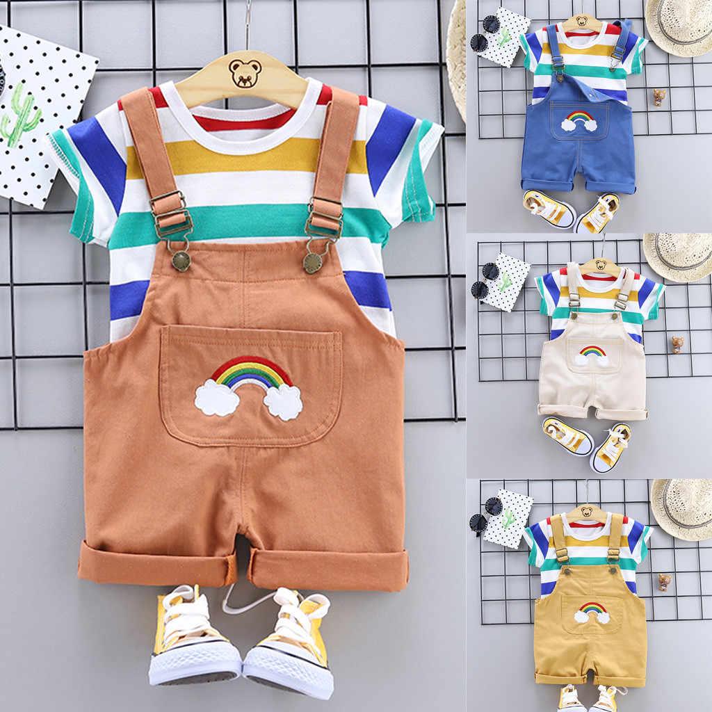 פעוט יילוד תינוק בגדי ילד בגדי ילדים קשת פס חולצות חולצה רצועות קצר ילדים תלבושות bebes Roupas Infantis