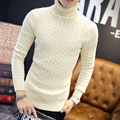 Men turtleneck sweater 2017 winter leisure sweater black white Long Sleeve Pullovers Christmas Knit Sweater Free shipping