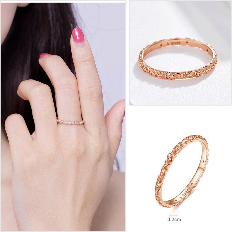 925 Sterling Silber Ringe für Frauen Zirkon 925 Silber Einfache - Modeschmuck - Foto 4