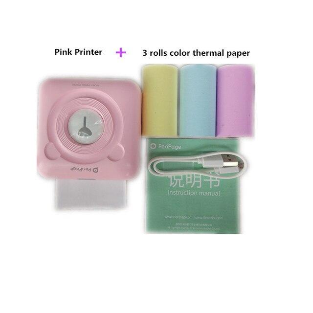 Rosa JEPOD A6 PeriPage Mini Port/átil Bluetooth Inal/ámbrico Papel Impresora de Fotos Bolsillo Impresi/ón T/érmica Conexi/ón USB Impresoras Fotos