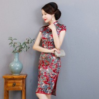 Chinese Red Elegant Mother Dress 100% Real Slik Print Floral Cheongsam Traditional Sexy Handmade Button Qipao Oversize XXXL