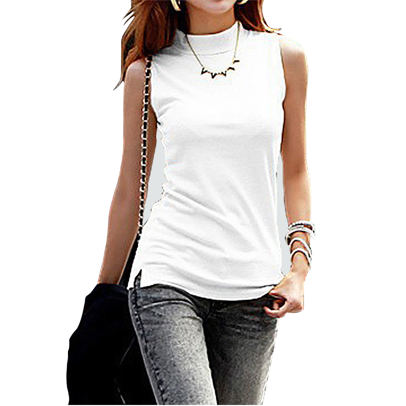 New Women Summer Autumn Sleeveless Solid Color Women Tops & Tees Cotton Women T Shirts Lady Vest 10 Colors Plus Size Clothing