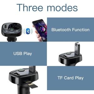 Image 4 - FM 송신기와 Baseus 듀얼 USB 차량용 충전기 아이폰 Xiaomi 화웨이에 대한 자동차에 블루투스 핸즈프리 FM 변조기 전화 충전기