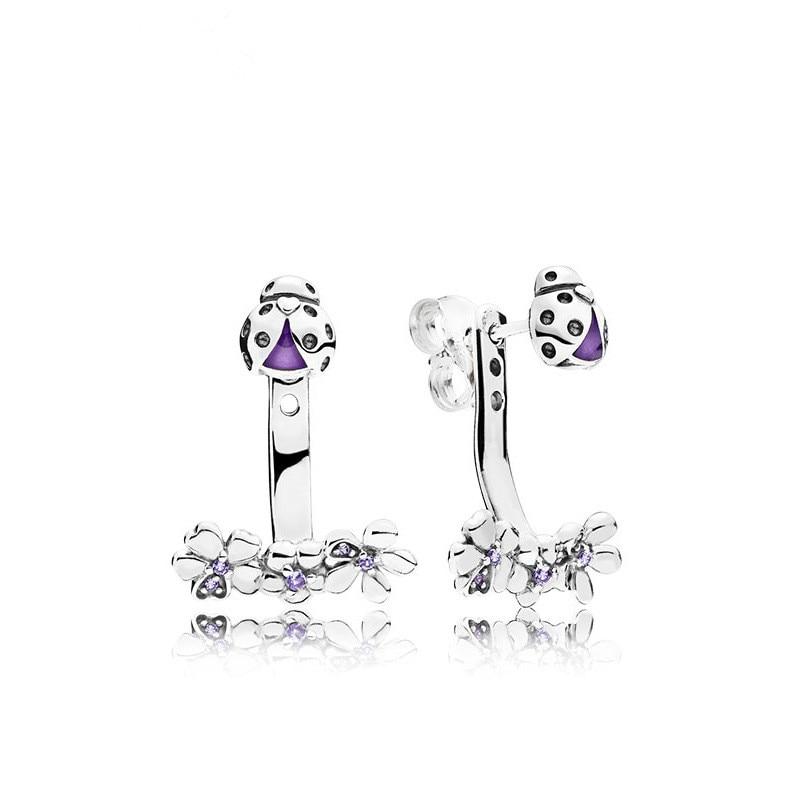 Original 925 Sterling Silver Purple Ladybug And Flower Pan Stud Earrings For Women Wedding Gift Europe Jewelry