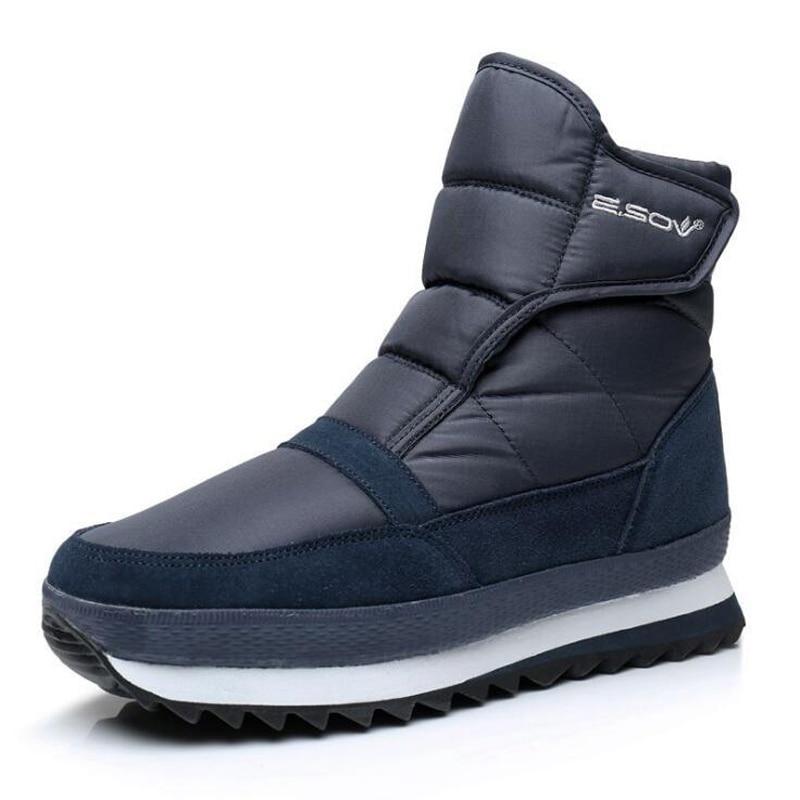 023c831e9b29c1 Vente Hommes bottes d hiver chaussures hommes cheville bottes  antidérapantes chaudes et Imperméables en peluche plat hommes neige bottes grande  taille 39 45 ...
