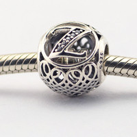 100 925 Sterling Silver Fits Pandora Charms Bracelet DIY Beads Vintage Z With Clear Cubic Zirconia