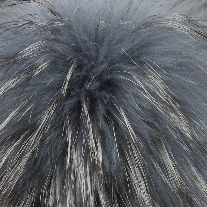 [FLB] Grå Mink Fur Ball Cap Pom Poms Vinter Hat Til Kvinder Piges - Beklædningstilbehør - Foto 5