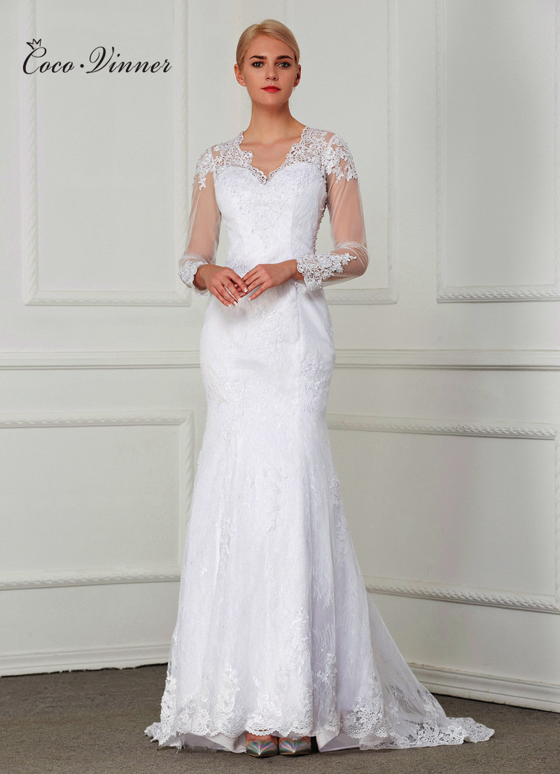 C.V Sexy Illusion Lace Mermaid Wedding Dress 2018 vestidos de noiva Pearls Beading Embroidery Custom Made Bridal Gowns W0021