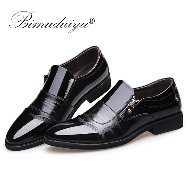 e68aefbcf4 COSIDRAM Split Leather Pointed Toe Men Dress Shoes Business Wedding ...