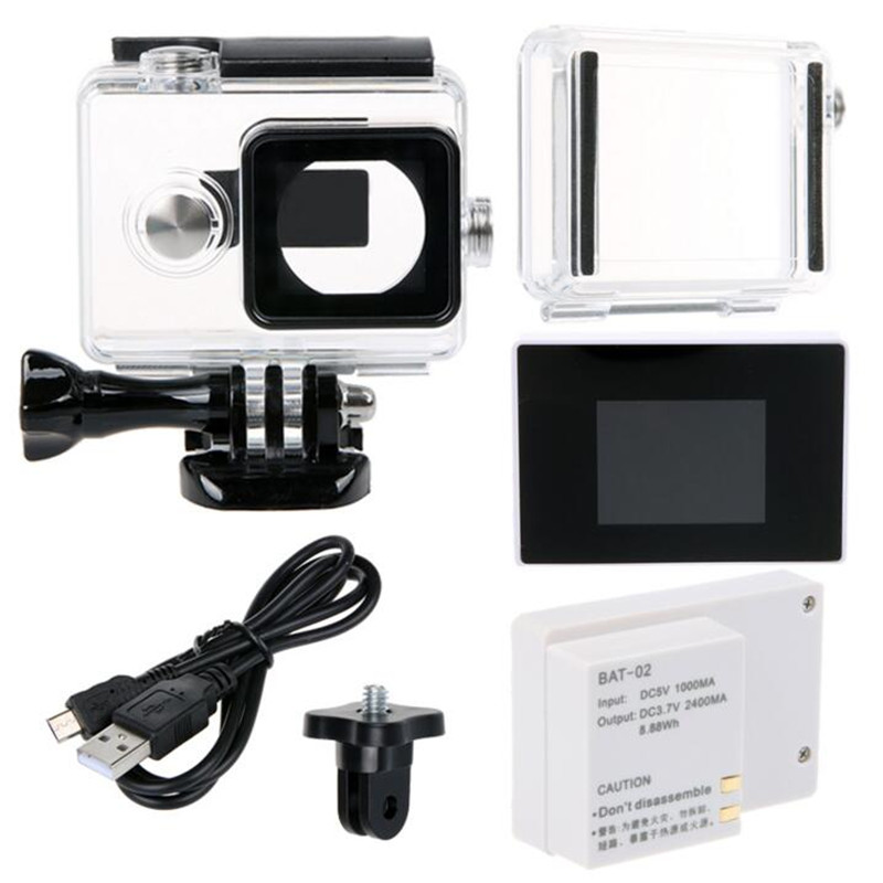 Waterproof Housing Case + LCD Display Screen + 2400Mah Battery + BacPac Backdoor For Xiaomi Yi Action Camera Accessories