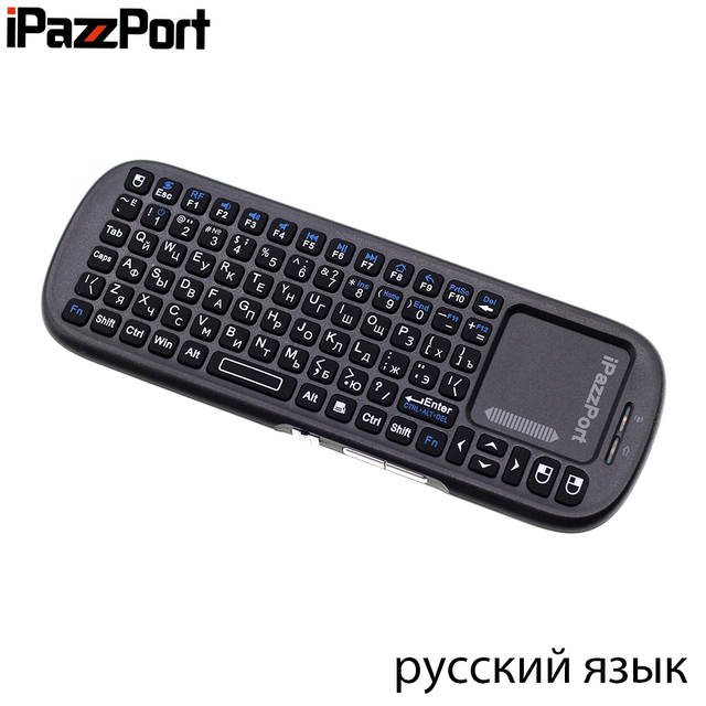 US $13 29 5% OFF|iPazzPort 19s Russian Keyboard 2 4G Mini Wireless Keyboard  Air Mouse with TouchPad for Google Android TV Box, Mini PC, Projector-in