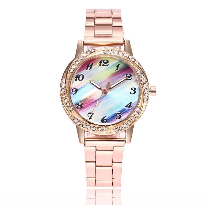 Relogio Feminino 2018 Watches Women Full Stainless Crystal Alloy Band Analog Quartz Wrist Watch Watches Ladies reloj mujer *1218