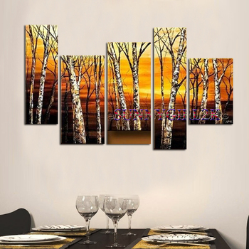 Modern Tree Canvas Wall Art Abstract Oil Painting for Decor (No frame)