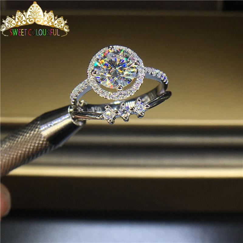 100% 18K 750Au الذهب المويسانتي خاتم الماس D اللون VVS مع شهادة الوطني مو 00105-في خواتم من الإكسسوارات والجواهر على  مجموعة 1