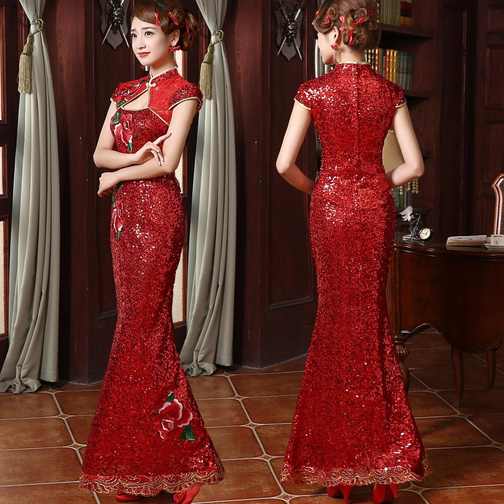 Online Shop red and gold sequins chinese costume embroidery long dresses  mermaid fish tail bridal qipao peony lace banquet dress  d7b71a225e59