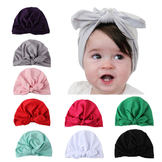 585029d82 Haimeikang Solid Kids Turban Hat with Bow Boys Girls Soft Cotton Beanies  Cap Rabbit Ear Knot Caps India Hat Cotton Unisex Hats-in Hair Accessories  ...