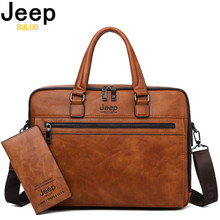 JEEP BULUO Brand Men Business Briefcase Bags For 14 inch laptop A4 File 2019 New Style Shoulder Travel Bag For Man High Quality