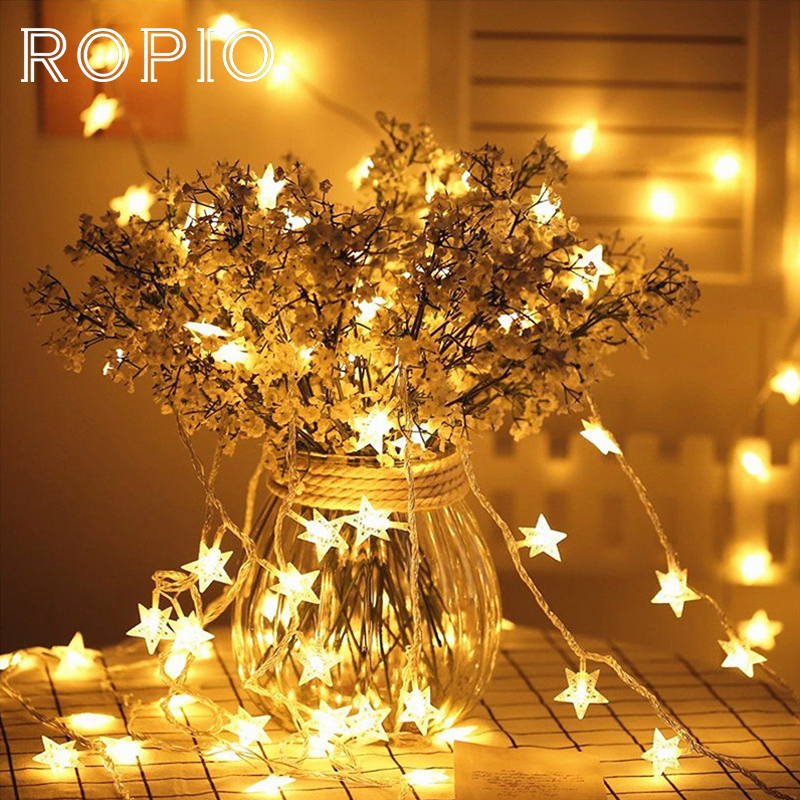 ROPIO Star Shape USB Charge LED String Atmosphere Warm White For Christmas Holiday Wedding Party Home Garden Decoration