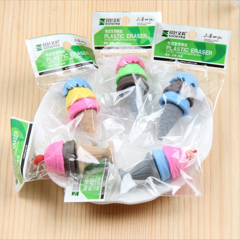Купить с кэшбэком 2x Creative stationery children cute cartoon kaleidoscope ice cream  eraser primary school prizes school kawaii school supplies