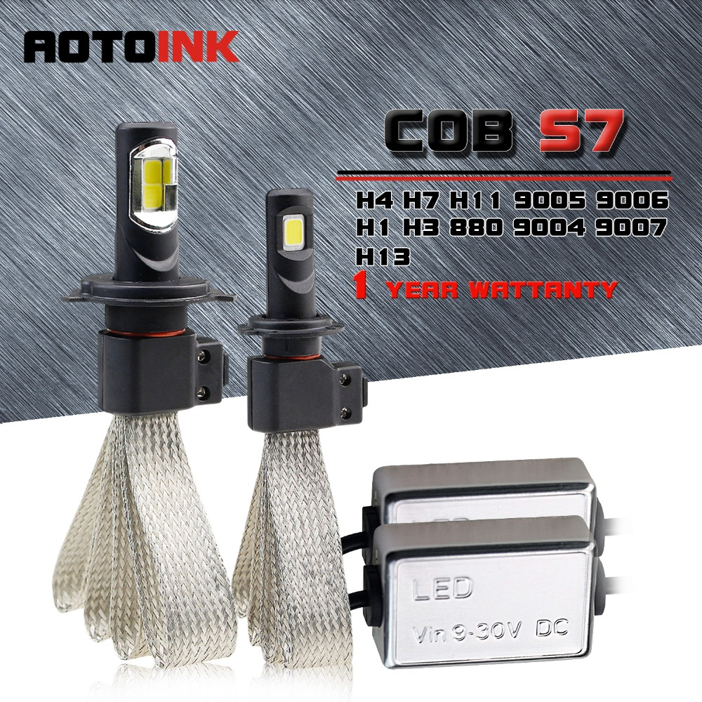 AOTOINK 2Pcs COB H7 H4 Led H11 H1 H8 H11 Bulb Car Headlights Auto Led Fog Lamp Fanless Aoto Light 6500K 60W 9600LM White 12V square 8w 800lm 6500k cob led white light lamp silver yellow 25 28v