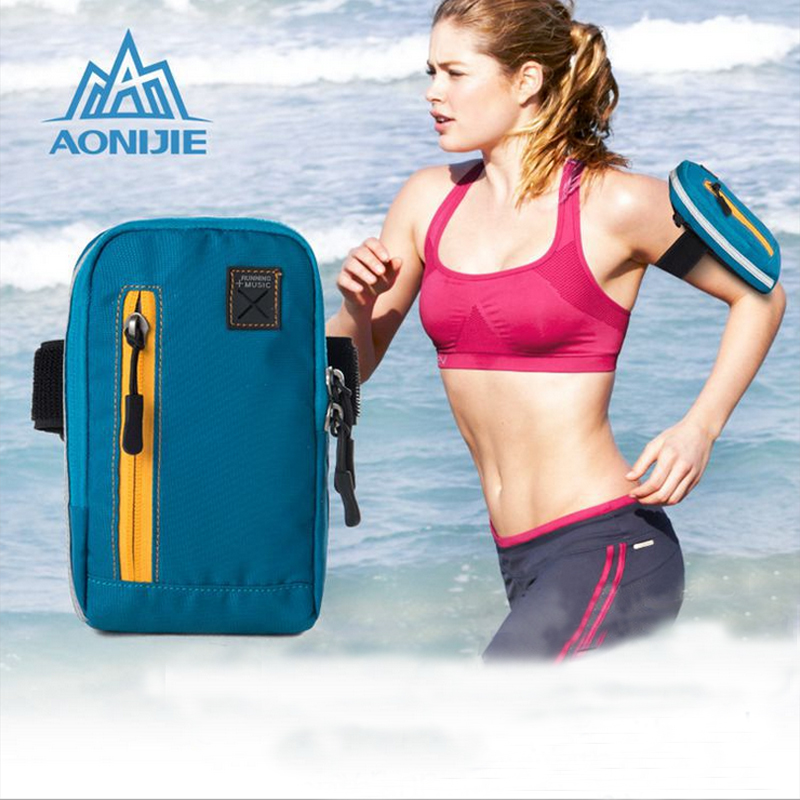 AONIJIE Arm Bags Coins Purse Sports Phone Mobile Wallet Key Package With Arm Shoulder Strap Outdoor Running