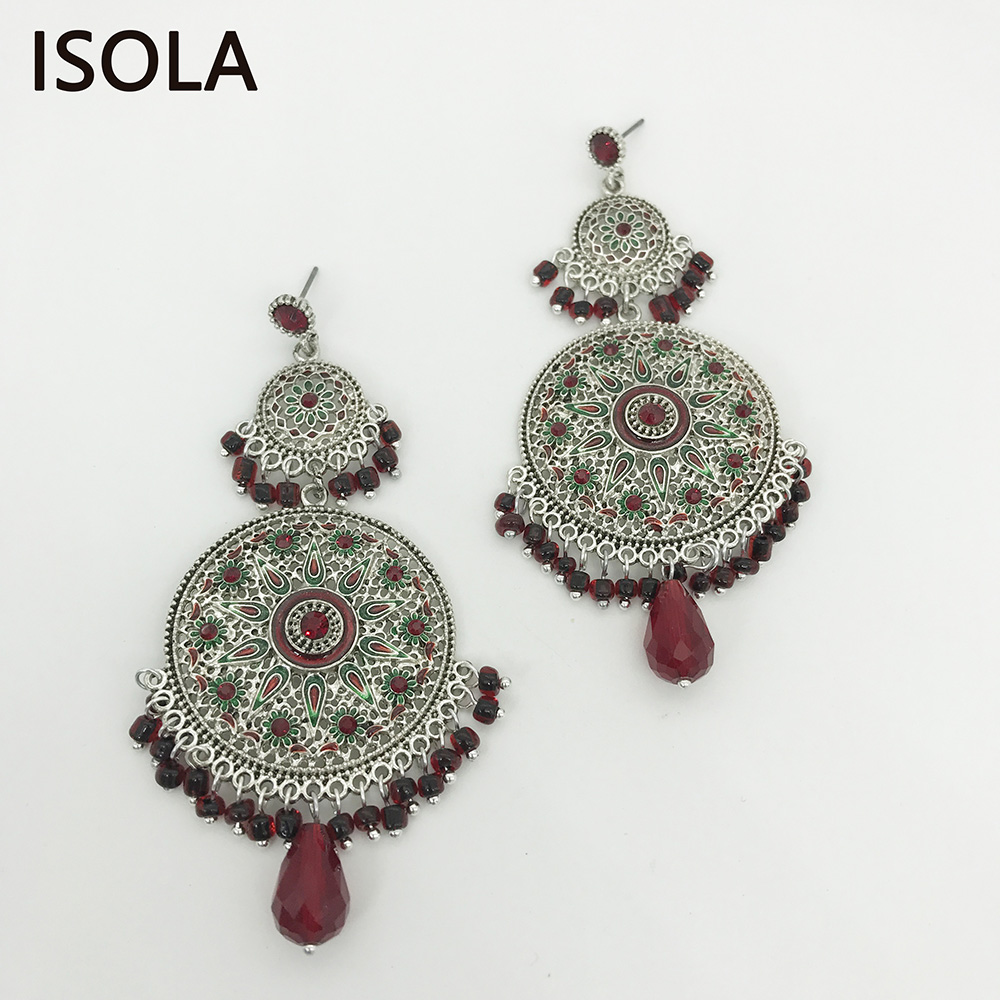 ISOLA Statement Large Chandelier Round Earrings Classic Bohemia Dangle Earrings Ethnic Charming Boho Earrings Jewelry For Woman