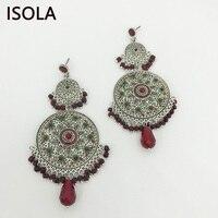 ISOLA массивные большие люстры круглые серьги классические висящие серьги в богемном стиле этнические очаровательные серьги Бохо ювелирные ...