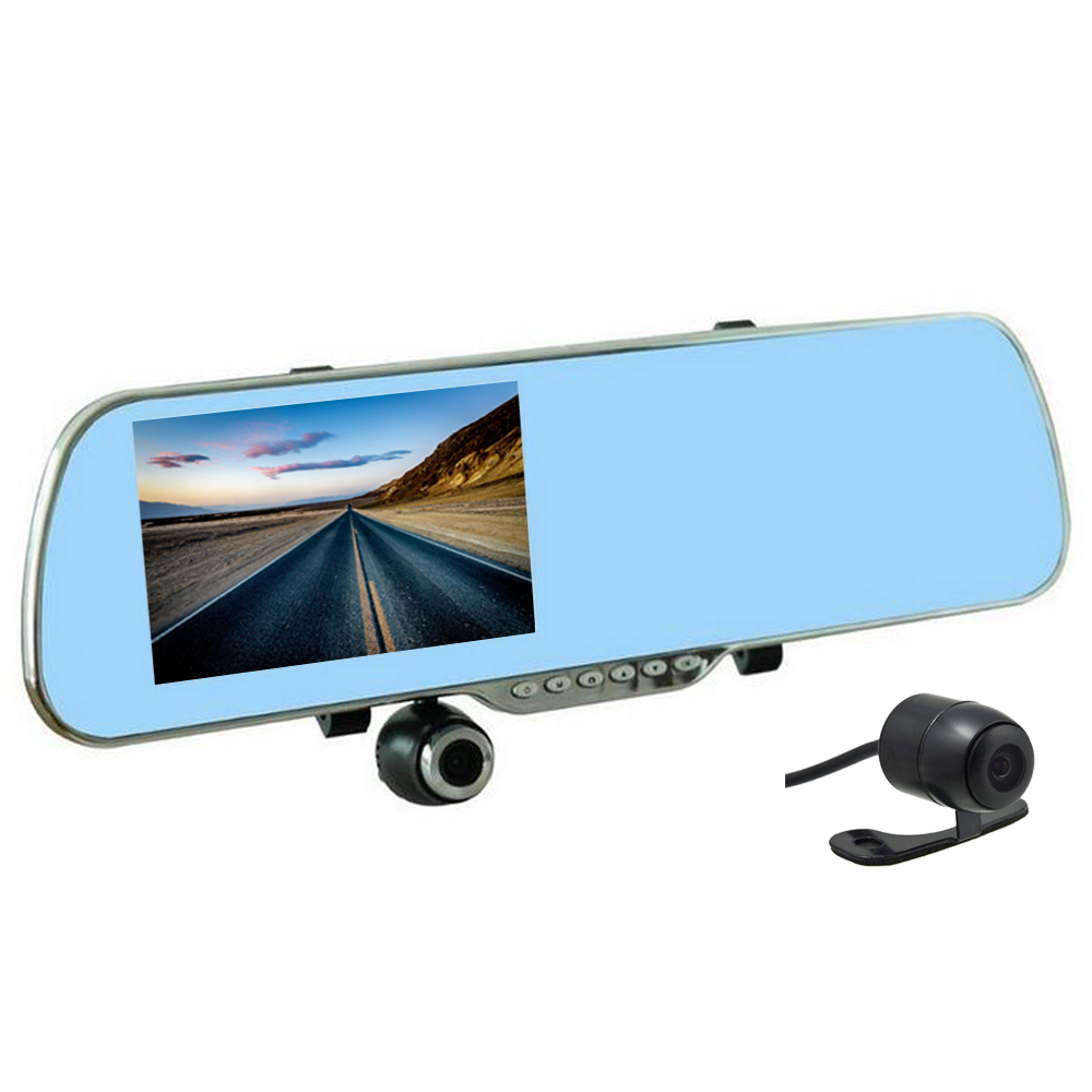 5.0 Dual lens Android 4.0 Car DVR Rearview mirror FULL HD 1080P Touch screen video recorder GPS FM wifi dash camera relaxgo 5 android touch car dvr gps navigation rearview mirror car camera dual lens wifi dash cam full hd 1080p video recorder