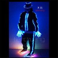 TC-60 MJ robot costumes LED Pleine couleur RVB lumière colorée lumineux michael bar porte salle de bal de danse chapeaux gants Programmation costume