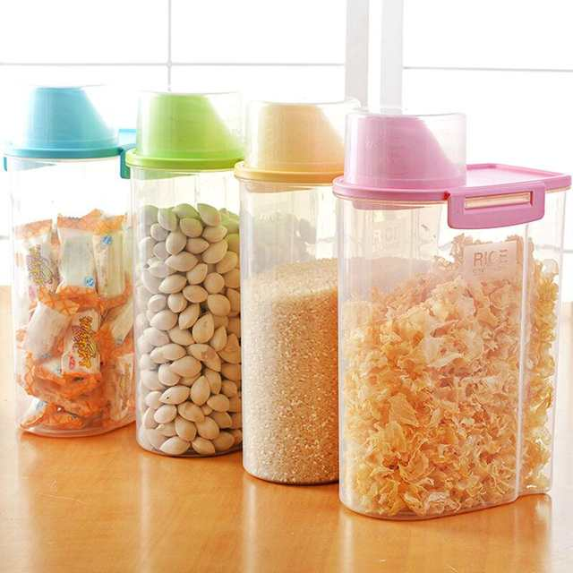 006072c7072 Online Shop 4 Pc  Set kitchen plastic storage canisters large plastic clear  containers coffee tea sugar jars 2.5L cereal dispenser