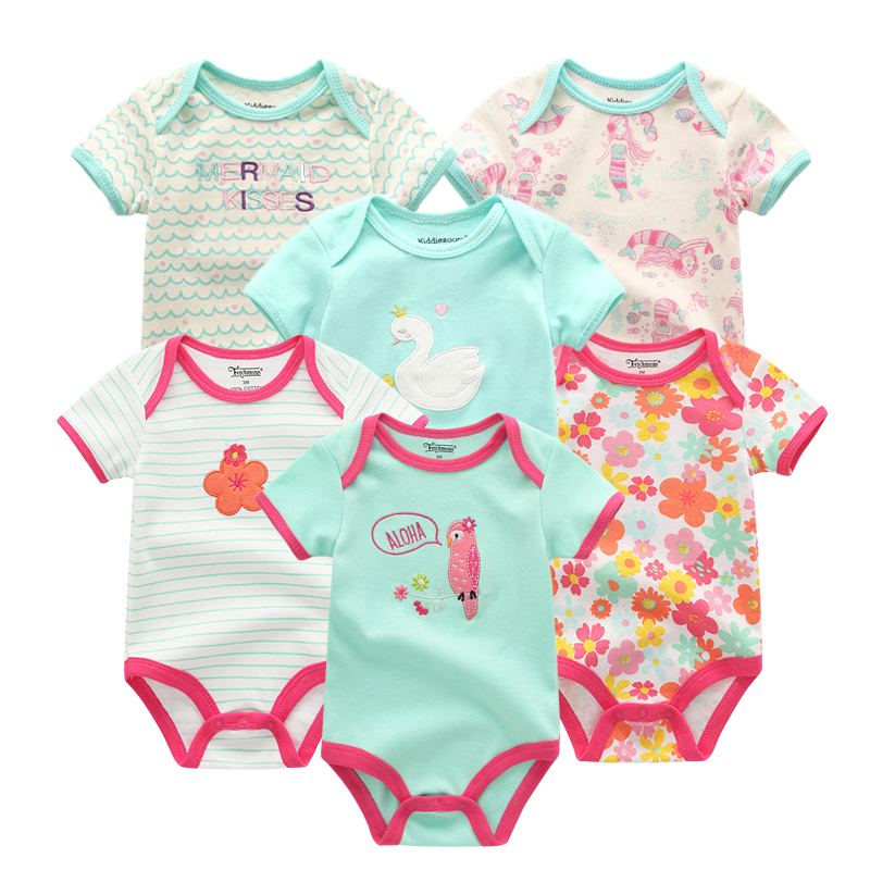 Beautiful New Baby Girls Romper 6 Pcs/lot Short Sleeve Floral Print Summer Clothing Set For 0-1 Years Clothes Outstanding Features