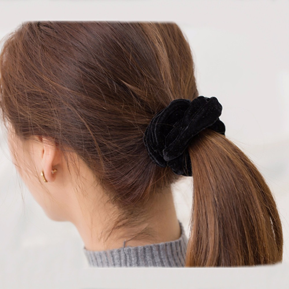 New arrival Velvet Elastic Hair Ropes Scrunchies Girls  No Crease ... bec2b2800a0