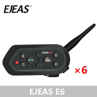6 Pack EJEAS E6 Bluetooth Intercom for Motorcycle Helmet Noise Control VOX Moto Radio Headset Domofon GPS MP3 for 2 Riders