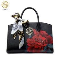 PMSIX 2017 Luxury Print Flower Split Leather Women Handbag Hot Selling Tote Women Bag Handbags Women