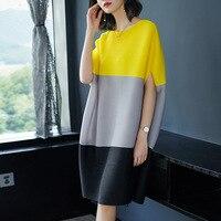 2018 European Women Fashion Color Loose Size Miyake Fold Dress Spring Free Shipping