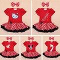 Baby Tutu Set Cartoon Cat Red Dress Cotton Short Sleeve Romper Spring Polka Dot Skirts Girls Clothing Set O-neck 2pcs Tutu Set
