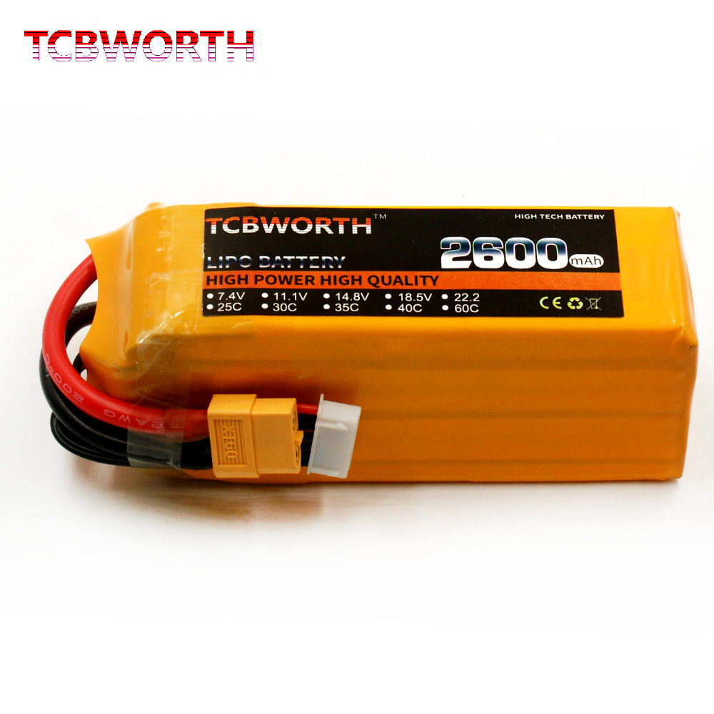 TCBWORTH RC Lipo battery 22.2v 2600mAh 35C 6s FOR RC Airplane Drone 6S Li-Po Batteria cell free shipping 1s 2s 3s 4s 5s 6s 7s 8s lipo battery balance connector for rc model battery esc