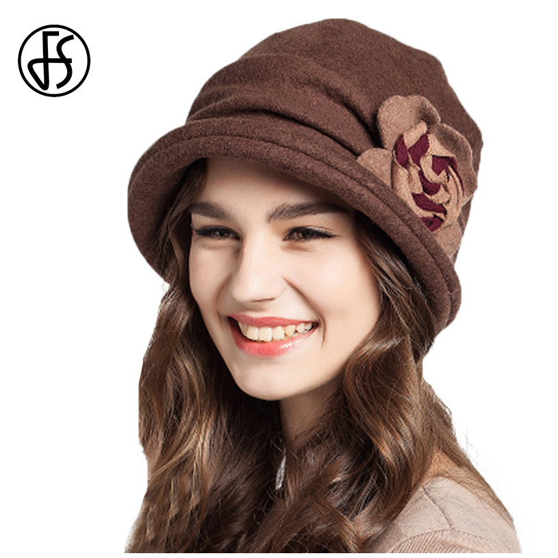 3050a7f9393 FS Women Short Brim Vintage Ladies Wool Hats For Women With Flower Foldable  Warm Floppy Chapeu Feminino Winter Fedora Hat -in Fedoras from Apparel ...