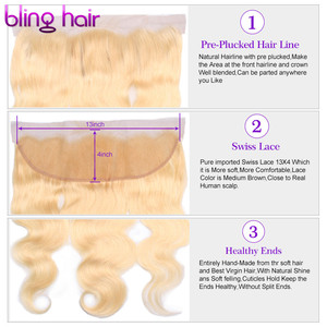 Image 3 - Bling Hair Brazilian Body Wave Lace Frontal Closure 13*4 Middle/Free/three Part with Baby Hair 100% Remy 1b/613 Blonde Color