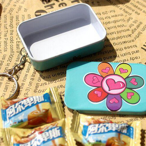 Portable 12 pcs/lot Mini Lovely Round Heart Shape Storage Box with Key Chain,Cute Metal Box for Candy Tea,Kawaii Small Tin Boxes Multan