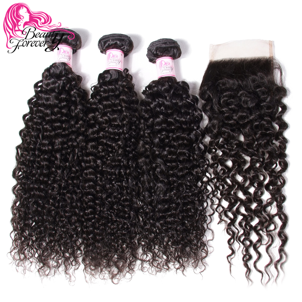 Human-Hair-Bundles Hair-Extension Closure Curly Beauty-Forever Malaysian with 4--4 Free/middle/three-part