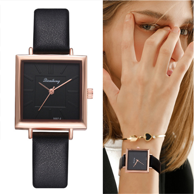 2018 Top Brand Square Women Bracelet Watch Contracted Leather Crystal WristWatch