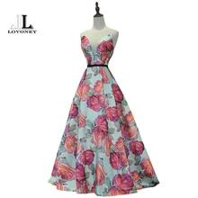 LOVONEY Evening Dress Long Flower Print Formal Dress Elegant