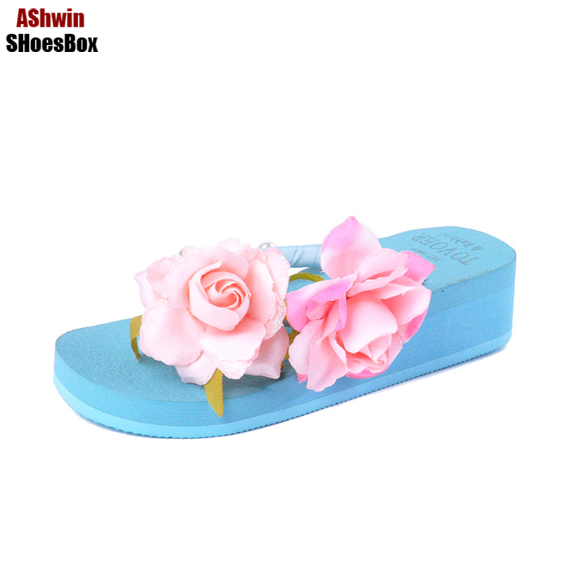 new flower flip flops summer women sandals wedge platform shoes floral thong slippers bohemia beach shoes handmade pearl beads