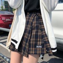 Повседневная Базовая модная универсальная клетчатая винтажная Асимметричная Высокая талия в духе колледжа Новая модная женская мини-юбка