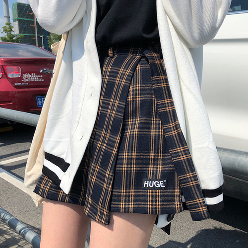 Casual Basic Fashion All Match Plaid Vintage Irregular High Waist College Wind 2018 New Fashion Female Women Mini Skirts
