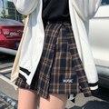 Casual Grund Mode Alle Spiel Plaid Vintage Unregelmäßigen Hohe Taille Hochschule Wind 2018 Neue Mode Weibliche Frauen Mini Röcke
