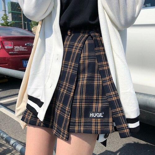 Casual moda básica todo fósforo Plaid Vintage Irregular alta cintura Colegio viento 2018 nueva moda mujeres Mini faldas