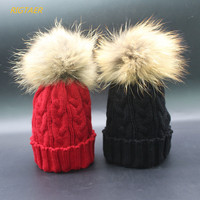 Children Raccoon Hair Ball Hat Twist Wool Hat Baby Boy And Girl Autumn And Winter Warm