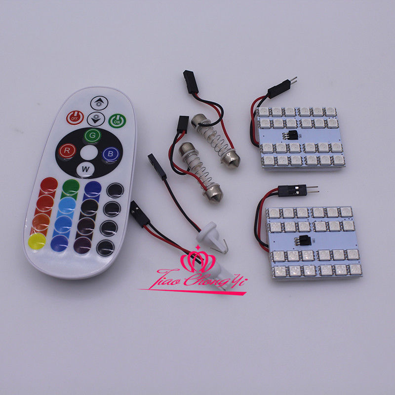 2 block T10 Festoon 36SMD RGB LED Car Dome Reading Light Lamp Bulb+ Remote Control